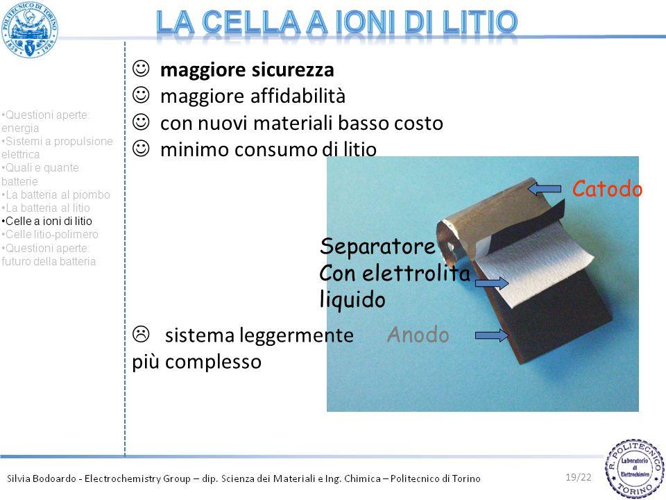 Catodo Anodo Separatore Con elettrolita liquido 19/22 sistema leggermente più complesso maggiore sicurezza maggiore affidabilità con nuovi materiali b