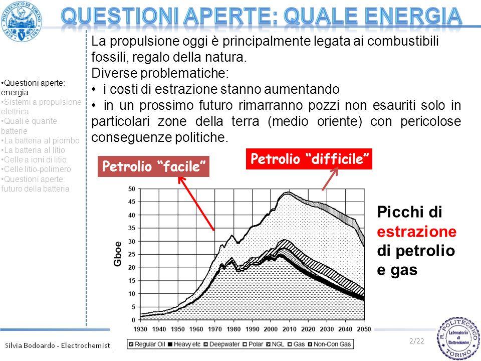 La propulsione oggi è principalmente legata ai combustibili fossili, regalo della natura. Diverse problematiche: i costi di estrazione stanno aumentan