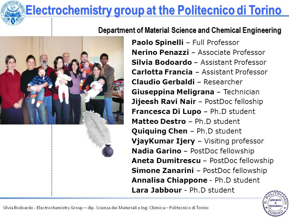 Electrochemistry group at the Politecnico di Torino Department of Material Science and Chemical Engineering Paolo Spinelli – Full Professor Nerino Pen