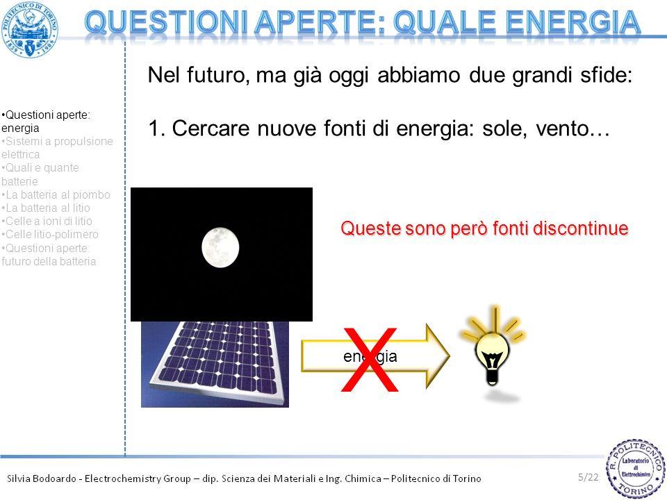 5/22 energia X Nel futuro, ma già oggi abbiamo due grandi sfide: 1. Cercare nuove fonti di energia: sole, vento… Queste sono però fonti discontinue Qu