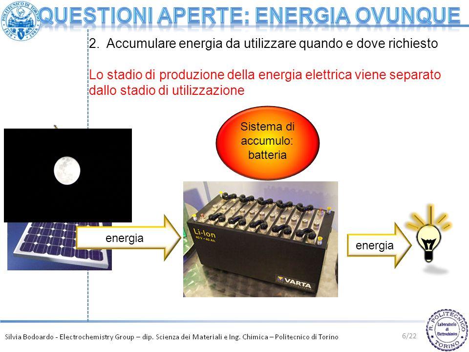 6/22 energia Sistema di accumulo: batteria 2. Accumulare energia da utilizzare quando e dove richiesto Lo stadio di produzione della energia elettrica