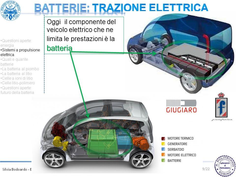 10/22 Questioni aperte: energia Sistemi a propulsione elettrica Quali e quante batterie La batteria al piombo La batteria al litio Celle a ioni di litio Celle litio-polimero Questioni aperte: futuro della batteria