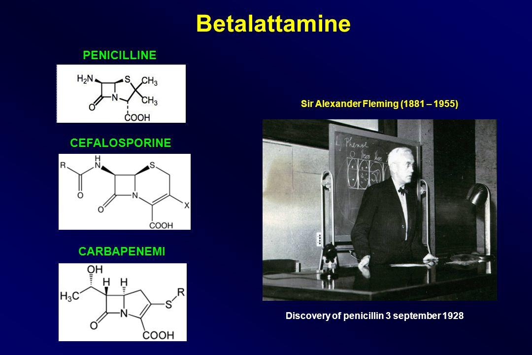 Sir Alexander Fleming (1881 – 1955) Discovery of penicillin 3 september 1928 Betalattamine PENICILLINE CEFALOSPORINE CARBAPENEMI
