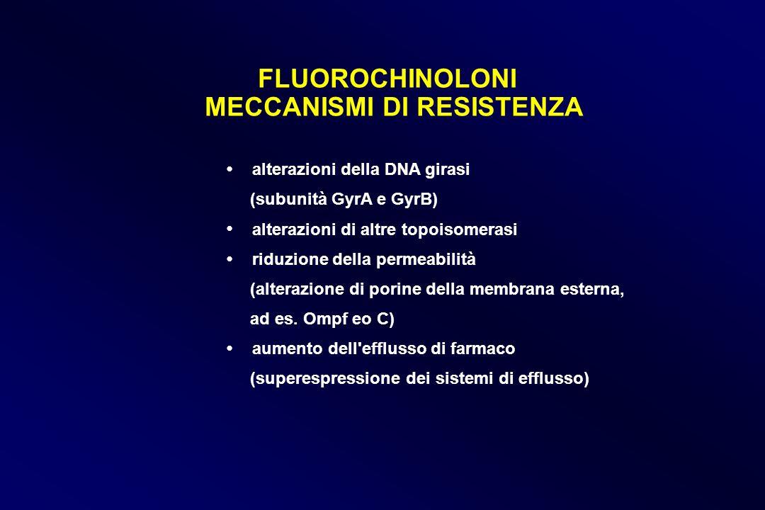FLUOROCHINOLONI MECCANISMI DI RESISTENZA alterazioni della DNA girasi (subunità GyrA e GyrB) alterazioni di altre topoisomerasi riduzione della permea