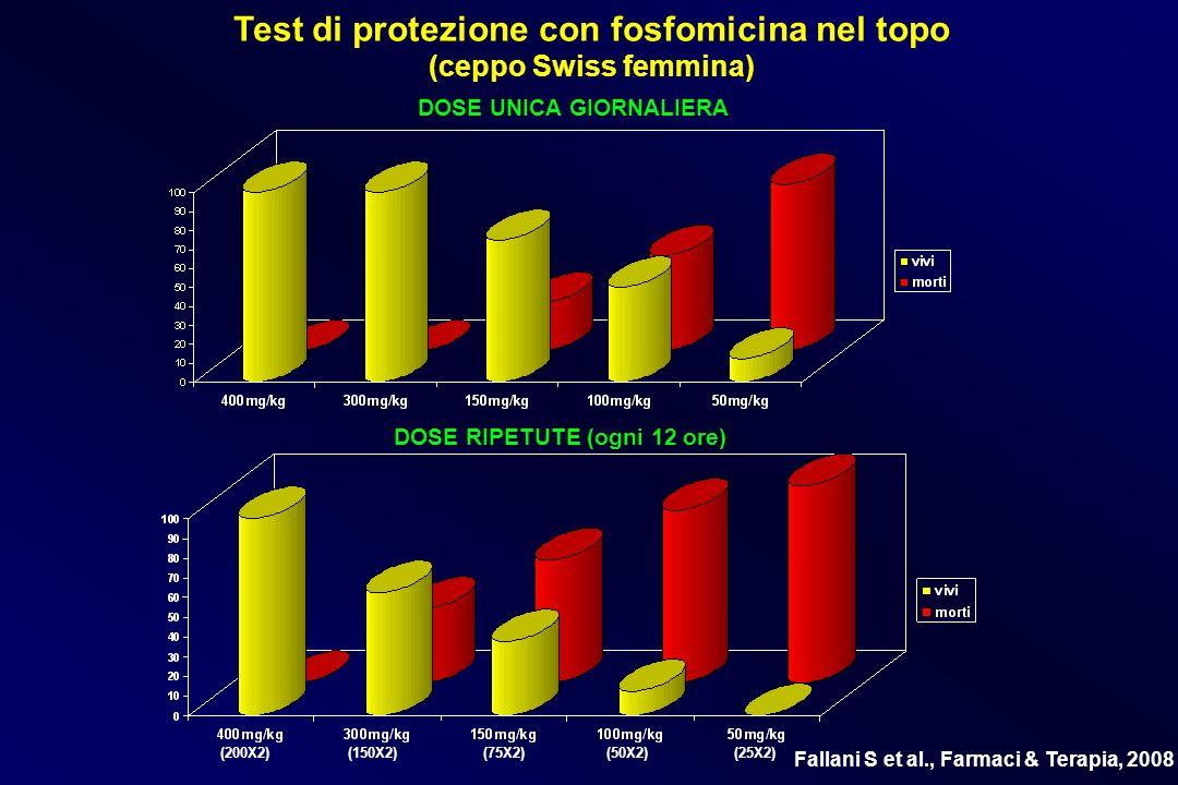 Test di protezione con fosfomicina nel topo (ceppo Swiss femmina) DOSE UNICA GIORNALIERA DOSE RIPETUTE (ogni 12 ore) (200X2) (150X2) (75X2) (50X2) (25