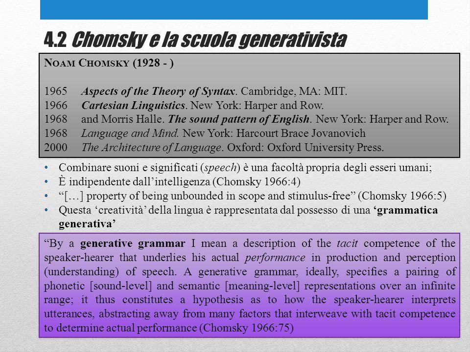 4.2 Chomsky e la scuola generativista N OAM C HOMSKY (1928 - ) 1965Aspects of the Theory of Syntax.
