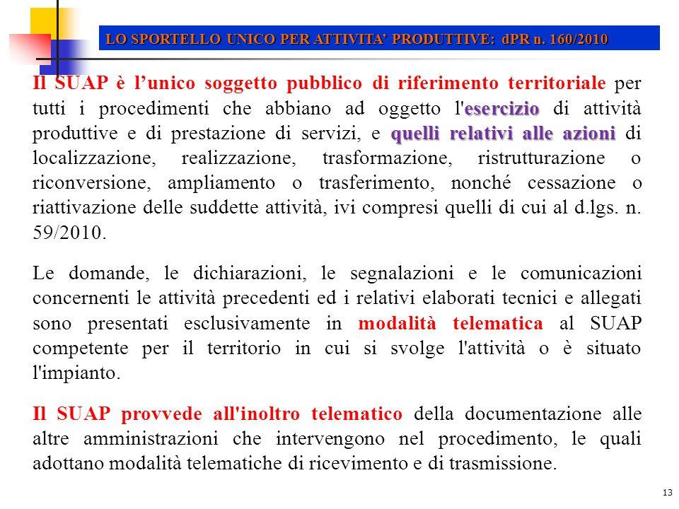 13 LO SPORTELLO UNICO PER ATTIVITA PRODUTTIVE: dPR n.