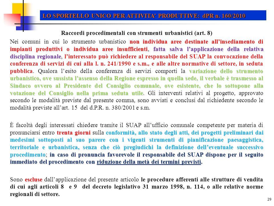 29 LO SPORTELLO UNICO PER ATTIVITA PRODUTTIVE: dPR n.