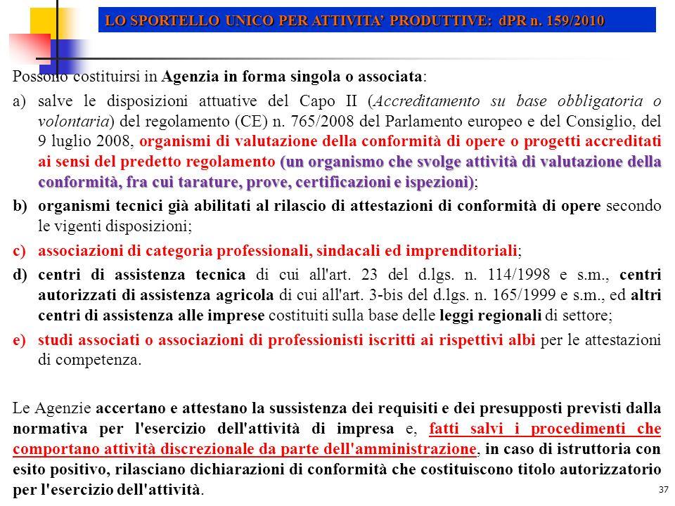 37 LO SPORTELLO UNICO PER ATTIVITA PRODUTTIVE: dPR n.