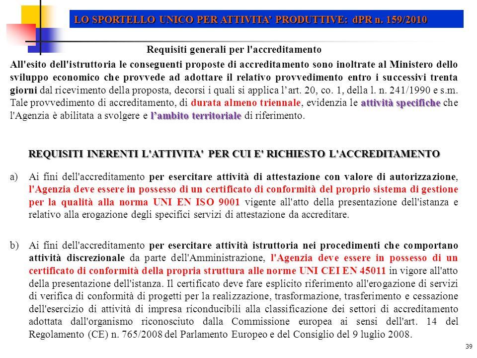 39 LO SPORTELLO UNICO PER ATTIVITA PRODUTTIVE: dPR n.
