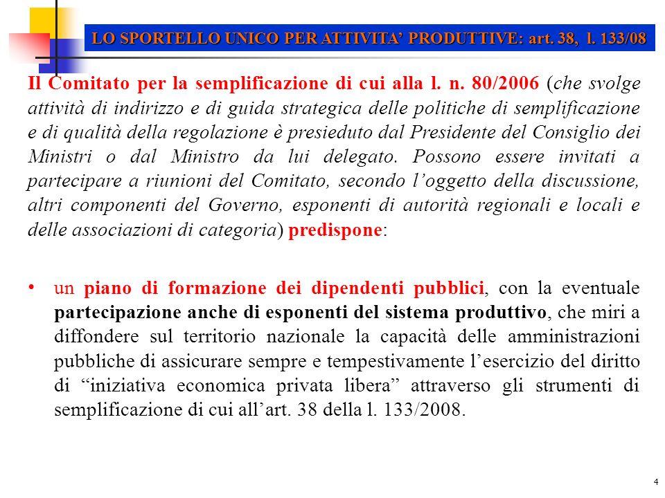 15 LO SPORTELLO UNICO PER ATTIVITA PRODUTTIVE: dPR n.