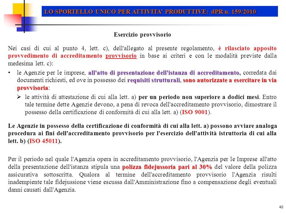 40 LO SPORTELLO UNICO PER ATTIVITA PRODUTTIVE: dPR n.