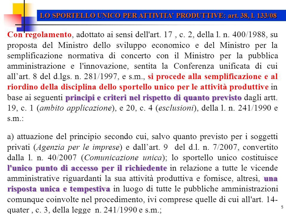 16 LO SPORTELLO UNICO PER ATTIVITA PRODUTTIVE: dPR n.