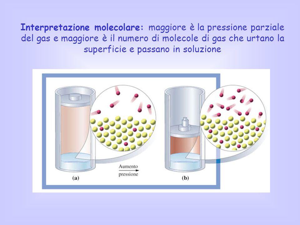 Interpretazione molecolare: maggiore è la pressione parziale del gas e maggiore è il numero di molecole di gas che urtano la superficie e passano in s