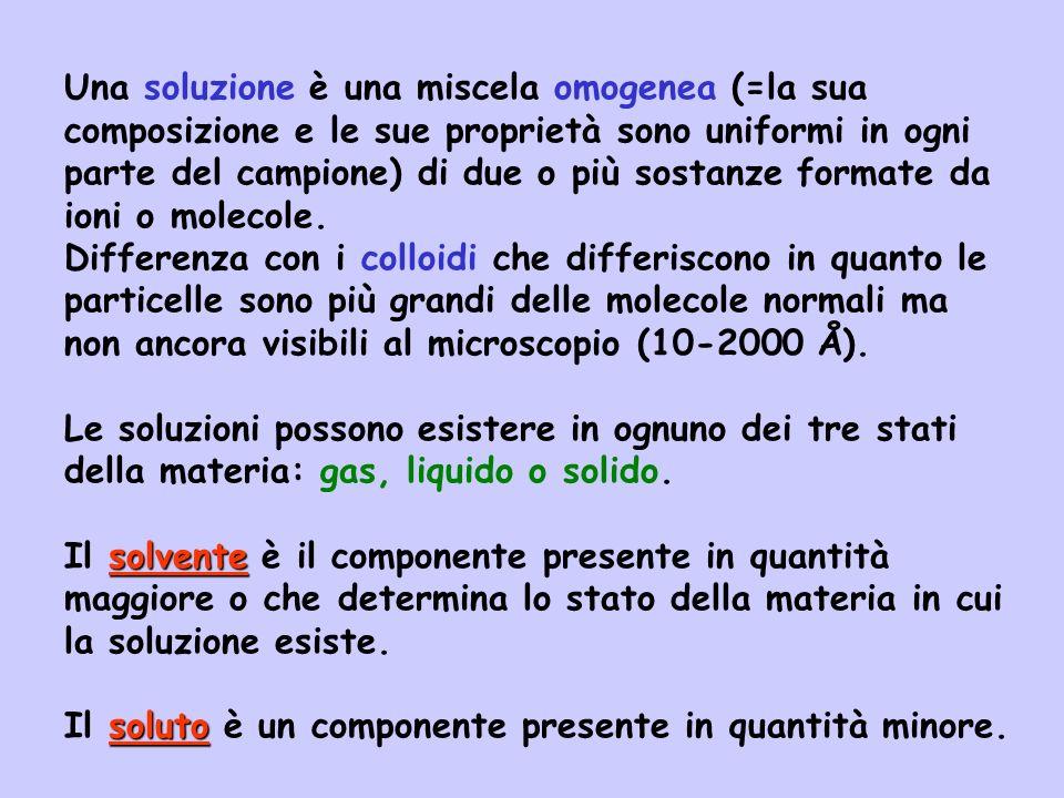 Una soluzione è una miscela omogenea (=la sua composizione e le sue proprietà sono uniformi in ogni parte del campione) di due o più sostanze formate