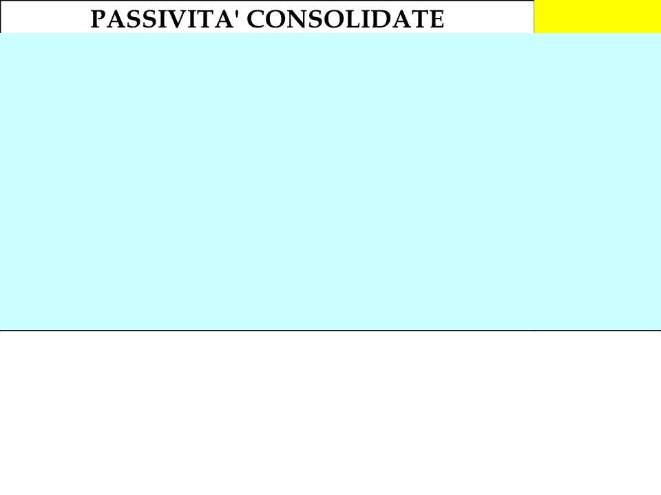 PASSIVITA' CONSOLIDATE1.181.000 Mutuo passivo (quota a M/L termine)270.000 F.do TFR393.000 Finanziamento soci240.000 Prestito obbligazionario (quota a