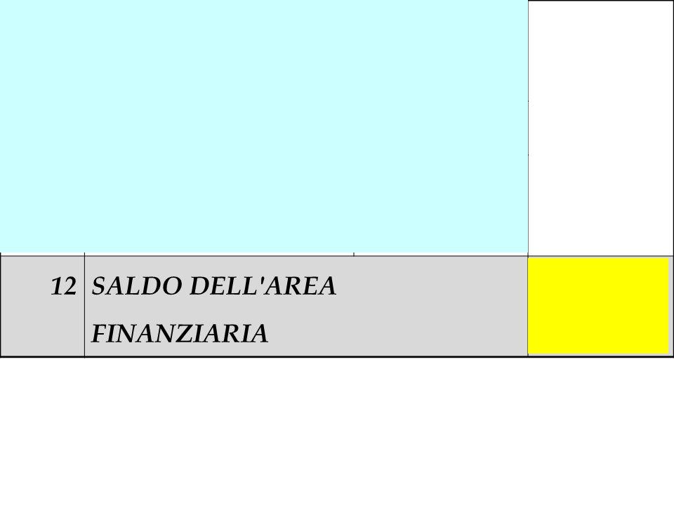 12a (Interessi su c/c bancari) - 52.000 12b(Interessi su mutuo)- 12.000 12c (Amm.to disaggio di emissione) - 6.000 12SALDO DELL'AREA FINANZIARIA - 70.