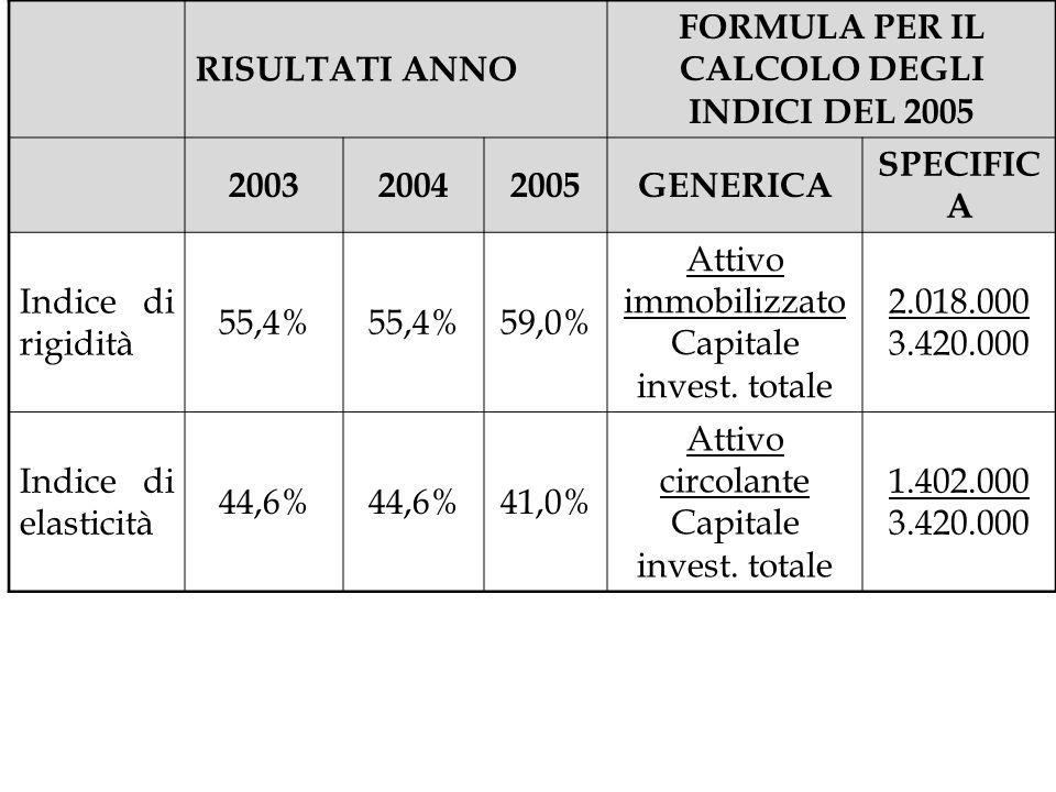 RISULTATI ANNO FORMULA PER IL CALCOLO DEGLI INDICI DEL 2005 200320042005GENERICA SPECIFIC A Indice di rigidità 55,4% 59,0% Attivo immobilizzato Capita