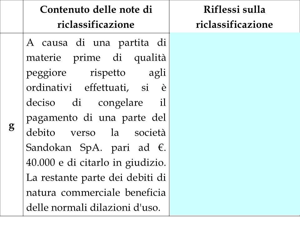 Contenuto delle note di riclassificazione Riflessi sulla riclassificazione g A causa di una partita di materie prime di qualità peggiore rispetto agli