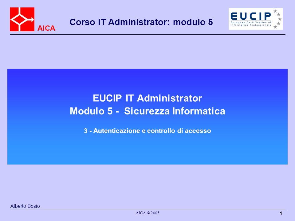 AICA Corso IT Administrator: modulo 5 AICA © 2005 2 Autenticazione Per un qualsiasi soggetto, l autenticazione rappresenta l atto di dimostrare la propria identità.