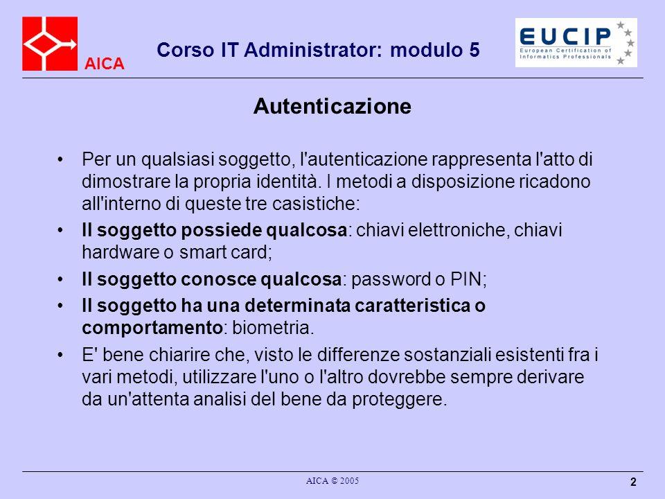 AICA Corso IT Administrator: modulo 5 AICA © 2005 2 Autenticazione Per un qualsiasi soggetto, l'autenticazione rappresenta l'atto di dimostrare la pro