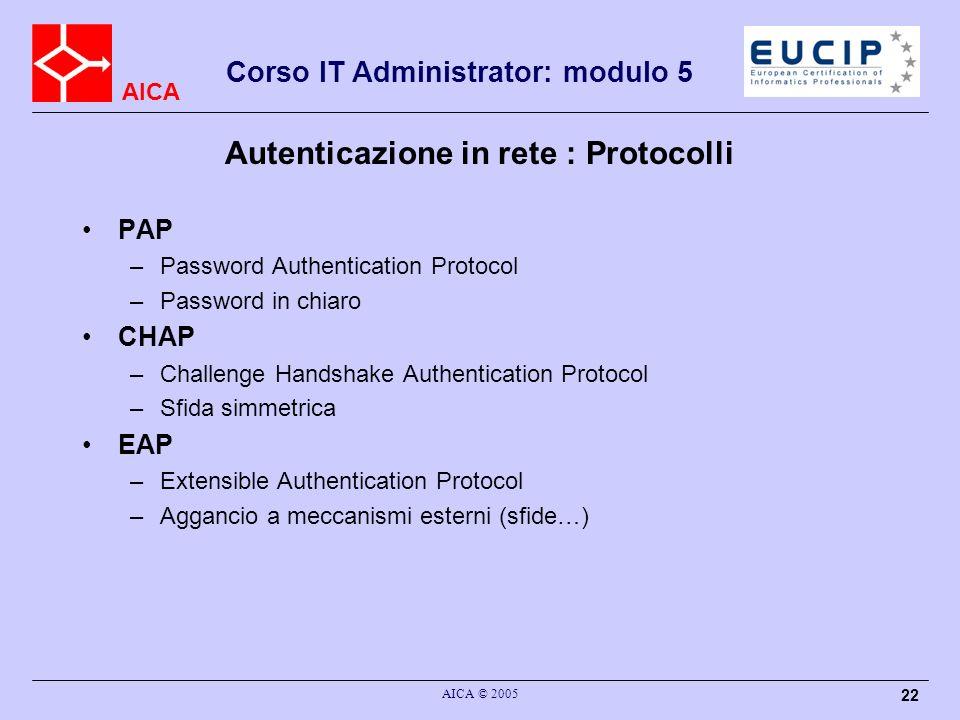 AICA Corso IT Administrator: modulo 5 AICA © 2005 22 Autenticazione in rete : Protocolli PAP –Password Authentication Protocol –Password in chiaro CHA