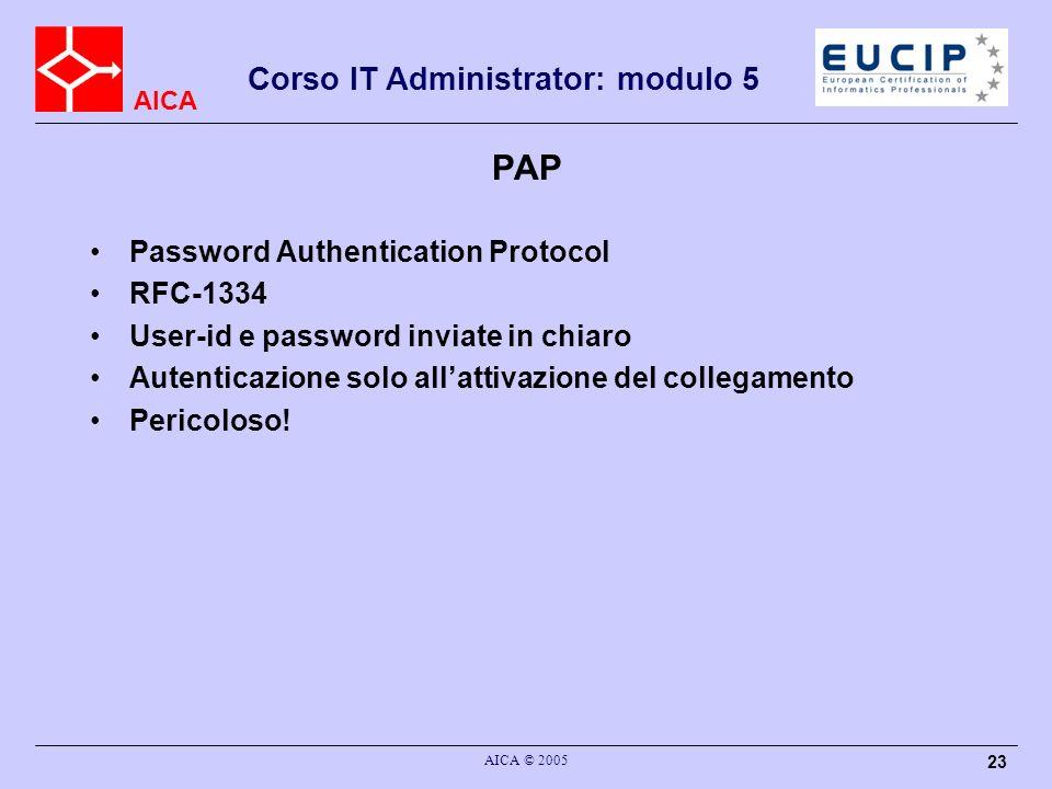 AICA Corso IT Administrator: modulo 5 AICA © 2005 23 PAP Password Authentication Protocol RFC-1334 User-id e password inviate in chiaro Autenticazione