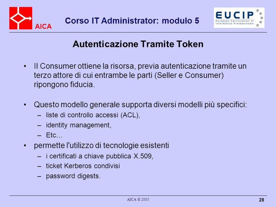 AICA Corso IT Administrator: modulo 5 AICA © 2005 28 Autenticazione Tramite Token Il Consumer ottiene la risorsa, previa autenticazione tramite un ter