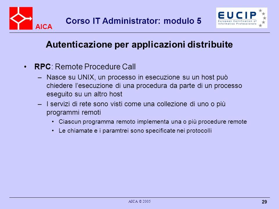 AICA Corso IT Administrator: modulo 5 AICA © 2005 29 Autenticazione per applicazioni distribuite RPC: Remote Procedure Call –Nasce su UNIX, un process
