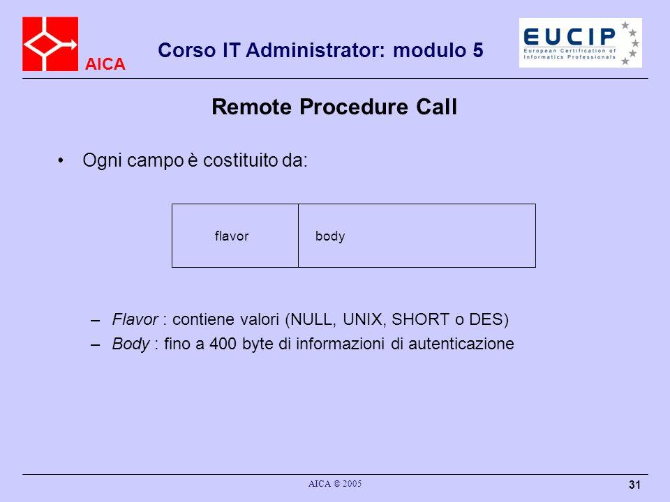 AICA Corso IT Administrator: modulo 5 AICA © 2005 31 Remote Procedure Call Ogni campo è costituito da: –Flavor : contiene valori (NULL, UNIX, SHORT o