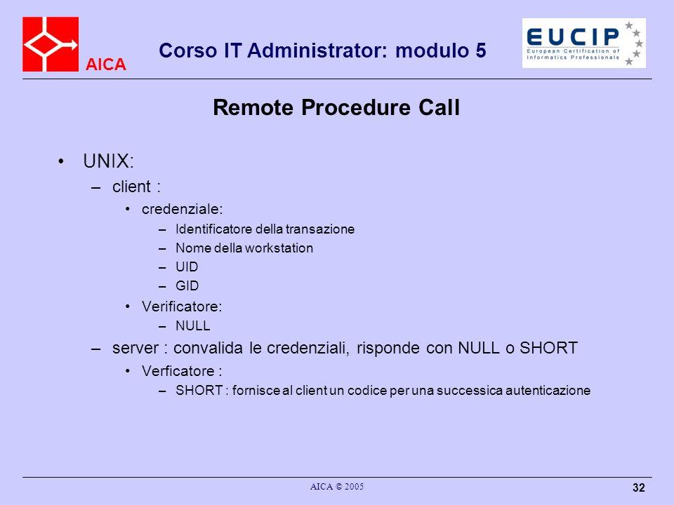 AICA Corso IT Administrator: modulo 5 AICA © 2005 32 Remote Procedure Call UNIX: –client : credenziale: –Identificatore della transazione –Nome della