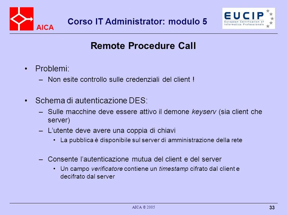 AICA Corso IT Administrator: modulo 5 AICA © 2005 33 Remote Procedure Call Problemi: –Non esite controllo sulle credenziali del client ! Schema di aut