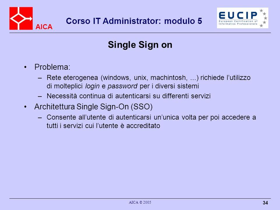 AICA Corso IT Administrator: modulo 5 AICA © 2005 34 Single Sign on Problema: –Rete eterogenea (windows, unix, machintosh,...) richiede lutilizzo di m