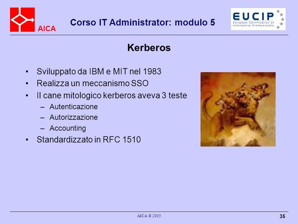 AICA Corso IT Administrator: modulo 5 AICA © 2005 35 Kerberos Sviluppato da IBM e MIT nel 1983 Realizza un meccanismo SSO Il cane mitologico kerberos