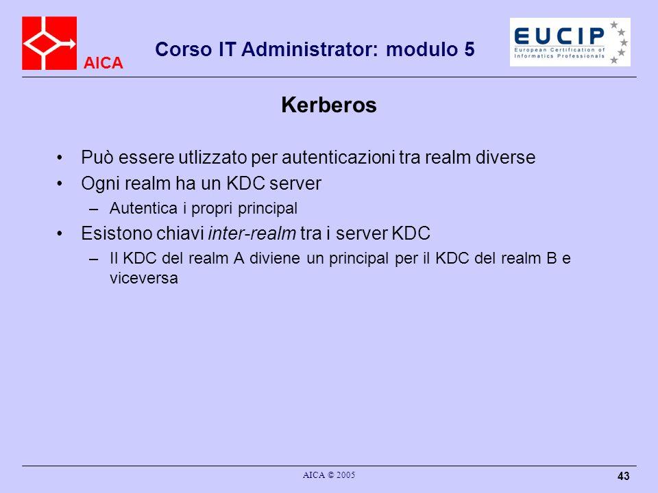 AICA Corso IT Administrator: modulo 5 AICA © 2005 43 Kerberos Può essere utlizzato per autenticazioni tra realm diverse Ogni realm ha un KDC server –A
