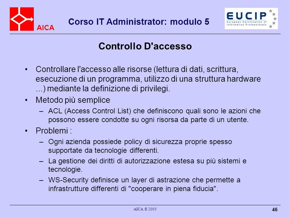 AICA Corso IT Administrator: modulo 5 AICA © 2005 46 Controllo D'accesso Controllare l'accesso alle risorse (lettura di dati, scrittura, esecuzione di