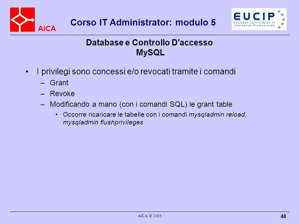 AICA Corso IT Administrator: modulo 5 AICA © 2005 48 Database e Controllo D'accesso MySQL I privilegi sono concessi e/o revocati tramite i comandi –Gr
