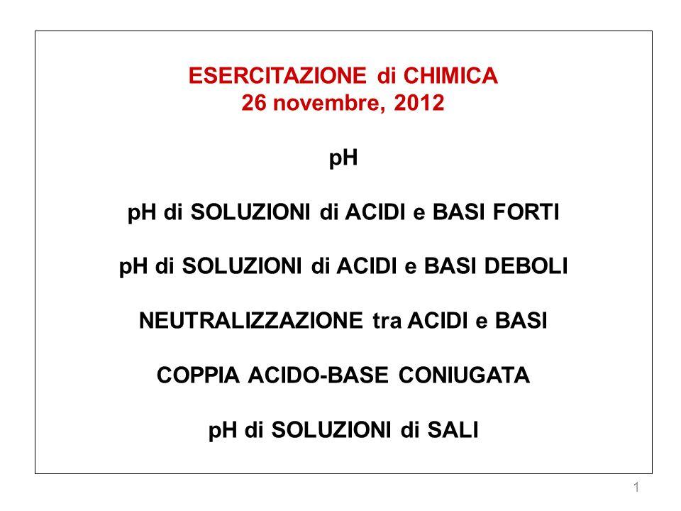 1 ESERCITAZIONE di CHIMICA 26 novembre, 2012 pH pH di SOLUZIONI di ACIDI e BASI FORTI pH di SOLUZIONI di ACIDI e BASI DEBOLI NEUTRALIZZAZIONE tra ACID