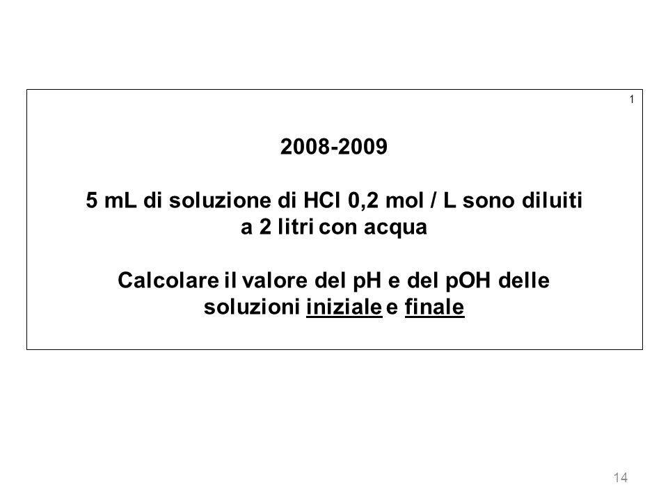 14 1 2008-2009 5 mL di soluzione di HCl 0,2 mol / L sono diluiti a 2 litri con acqua Calcolare il valore del pH e del pOH delle soluzioni iniziale e f