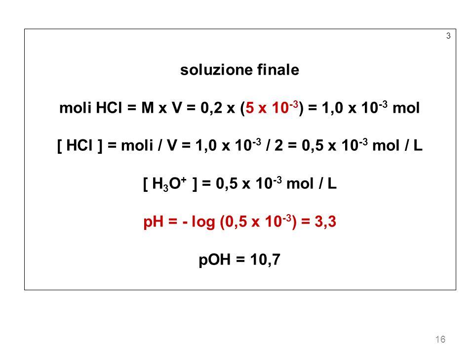 16 3 soluzione finale moli HCl = M x V = 0,2 x (5 x 10 -3 ) = 1,0 x 10 -3 mol [ HCl ] = moli / V = 1,0 x 10 -3 / 2 = 0,5 x 10 -3 mol / L [ H 3 O + ] =