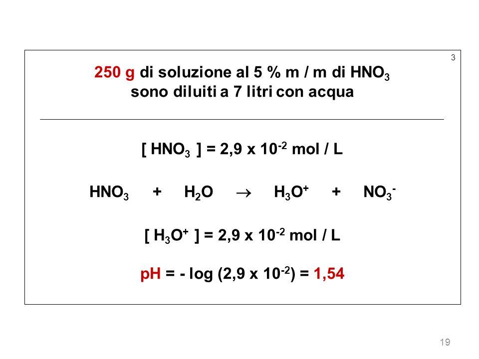 19 3 250 g di soluzione al 5 % m / m di HNO 3 sono diluiti a 7 litri con acqua [ HNO 3 ] = 2,9 x 10 -2 mol / L HNO 3 + H 2 O H 3 O + + NO 3 - [ H 3 O