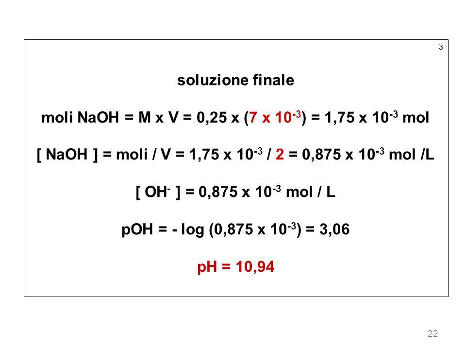 22 3 soluzione finale moli NaOH = M x V = 0,25 x (7 x 10 -3 ) = 1,75 x 10 -3 mol [ NaOH ] = moli / V = 1,75 x 10 -3 / 2 = 0,875 x 10 -3 mol /L [ OH -
