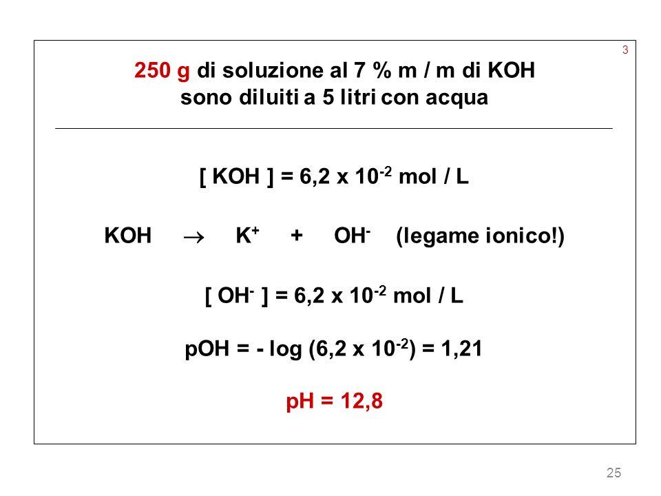 25 3 250 g di soluzione al 7 % m / m di KOH sono diluiti a 5 litri con acqua [ KOH ] = 6,2 x 10 -2 mol / L KOH K + + OH - (legame ionico!) [ OH - ] =