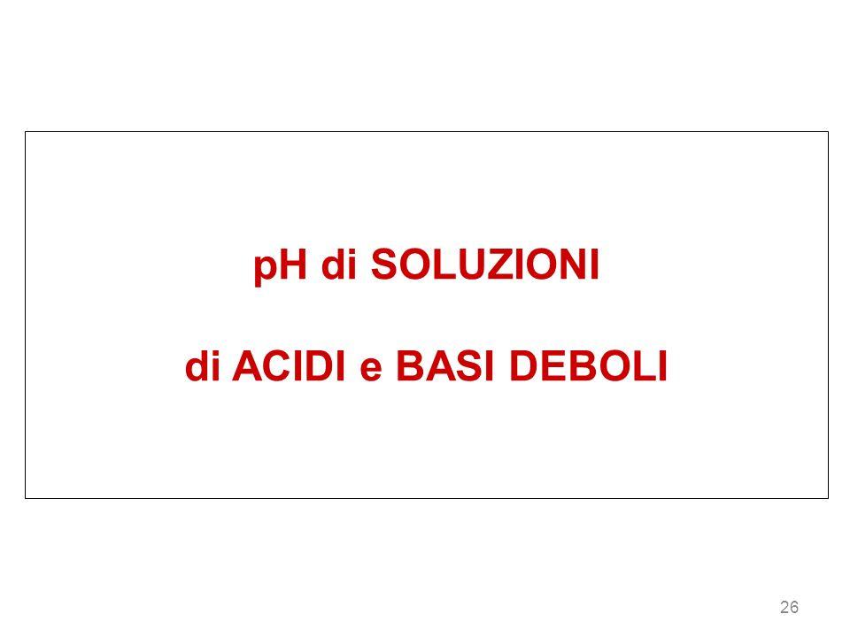 26 pH di SOLUZIONI di ACIDI e BASI DEBOLI