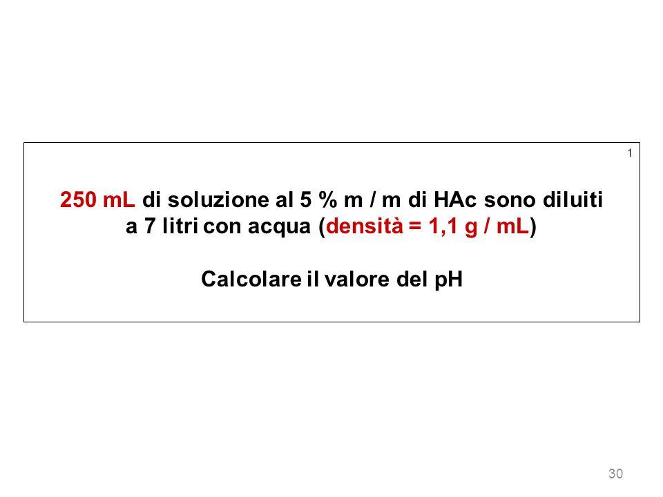 30 1 250 mL di soluzione al 5 % m / m di HAc sono diluiti a 7 litri con acqua (densità = 1,1 g / mL) Calcolare il valore del pH