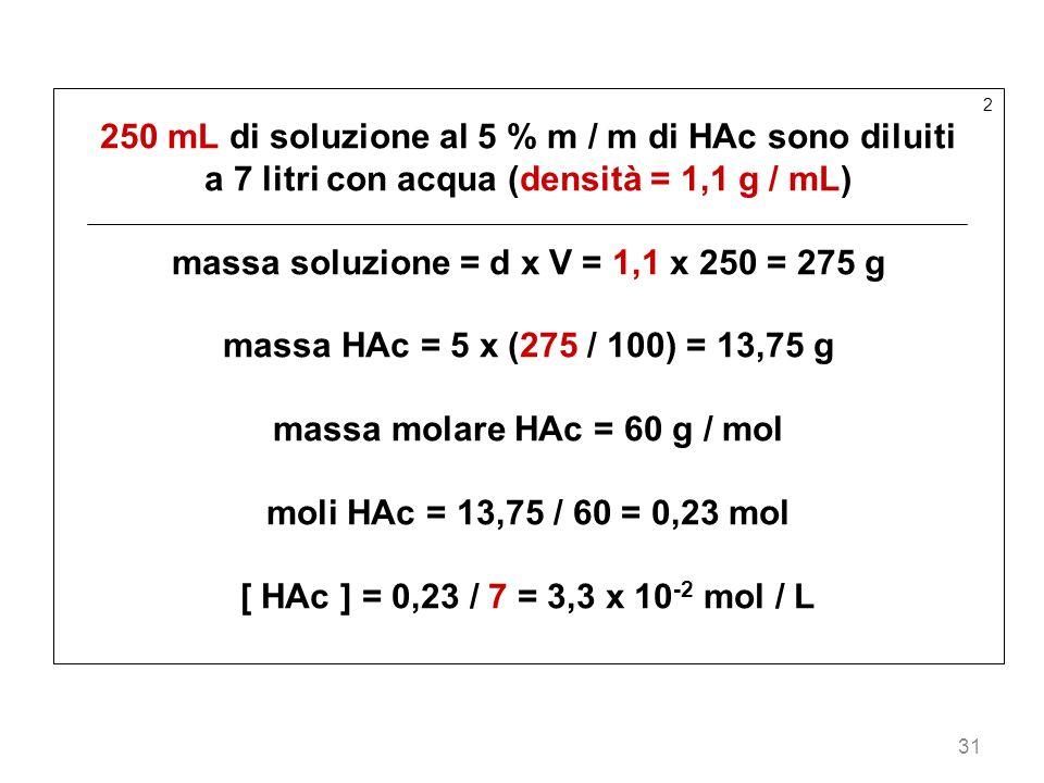 31 2 250 mL di soluzione al 5 % m / m di HAc sono diluiti a 7 litri con acqua (densità = 1,1 g / mL) massa soluzione = d x V = 1,1 x 250 = 275 g massa