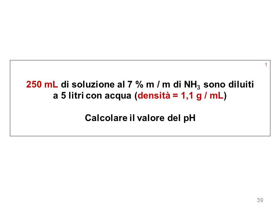 39 1 250 mL di soluzione al 7 % m / m di NH 3 sono diluiti a 5 litri con acqua (densità = 1,1 g / mL) Calcolare il valore del pH