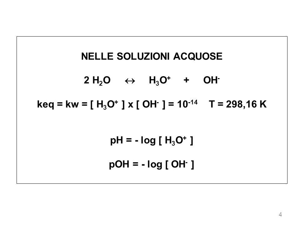 4 NELLE SOLUZIONI ACQUOSE 2 H 2 O H 3 O + + OH - keq = kw = [ H 3 O + ] x [ OH - ] = 10 -14 T = 298,16 K pH = - log [ H 3 O + ] pOH = - log [ OH - ]