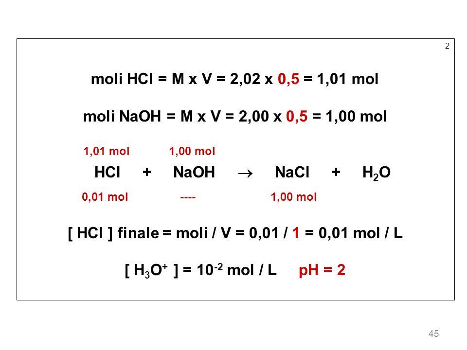 45 2 moli HCl = M x V = 2,02 x 0,5 = 1,01 mol moli NaOH = M x V = 2,00 x 0,5 = 1,00 mol 1,01 mol 1,00 mol HCl + NaOH NaCl + H 2 O 0,01 mol ---- 1,00 m
