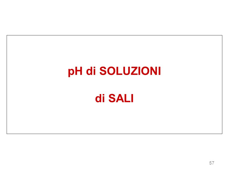 57 pH di SOLUZIONI di SALI